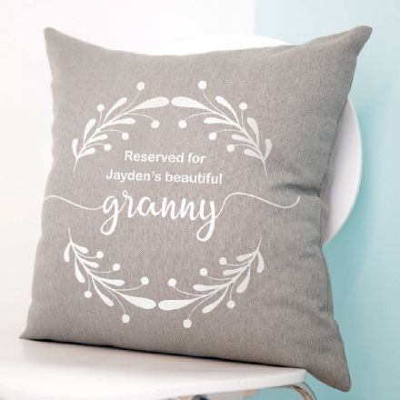 Personalised Reserved Wreath Cushion